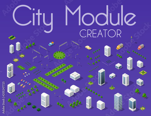 Fotobehang Violet City module creator