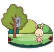 cute koala on tree branch and rabbit on the grass over white background, colorful design. vector illustration