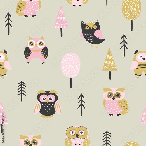 Plexiglas Uilen cartoon Seamless pattern with cute owls ant trees. Vector forest background.