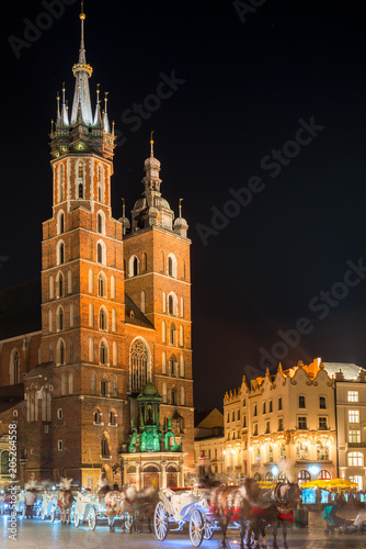 Church of Mary against the black night sky, Krakow Poland © kosmos111