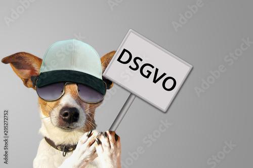 Leinwanddruck Bild Hund mit Schild DSGVO - Datenschutz-Grundverordnung