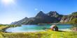 Leinwanddruck Bild - Trollfjord, Strand mit Haus, Lofoten, Skandinavien, Norwegen