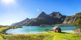 Trollfjord, Strand mit Haus, Lofoten, Skandinavien, Norwegen  - 205274197