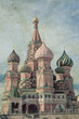 Old grunge image of Saint Basil's Cathedral on Red Square in Moscow, Russia