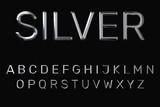 3D Alphabet mit Silber Textur auf schwarzem Hintergrund