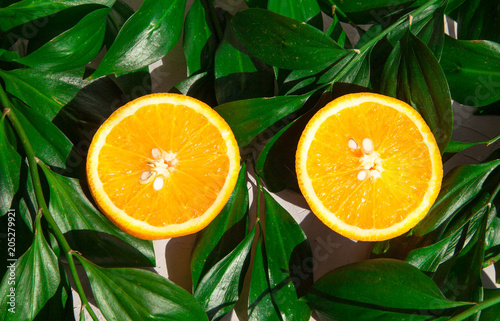 Ripe orange on a background of green leaves