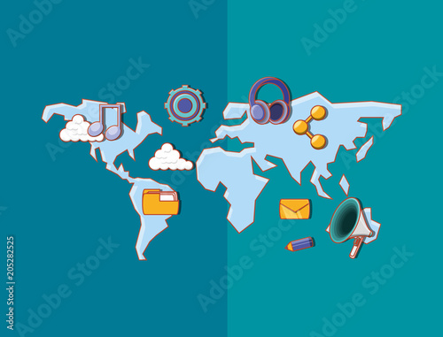 Canvas Wereldkaarten world map with social media related icons over blue background, colorful design. vector illustration