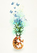 Pineapple. Watercolor design element, bacground. - 205286154