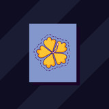 tropical flower icon over purple square and black background, colorful design. vector illustration