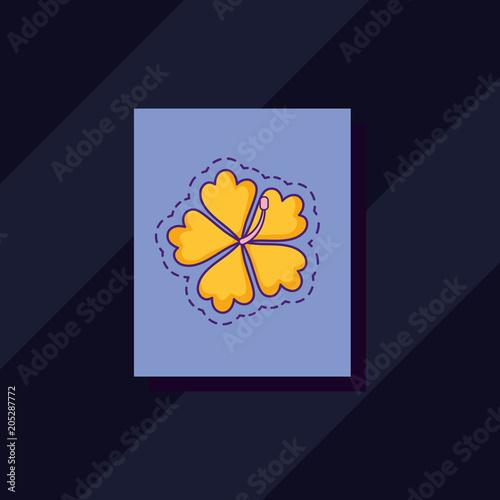 Fridge magnet tropical flower icon over purple square and black background, colorful design. vector illustration