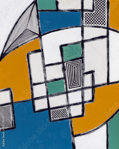 An abstract painting; irregular geometric mesh of groken brushwork with infilled areas.