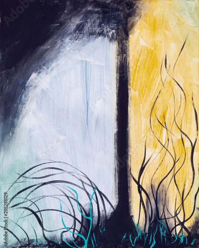 Fototapeta An abstract painting; a tree with foreground frond-like forms and coarse brushwork.