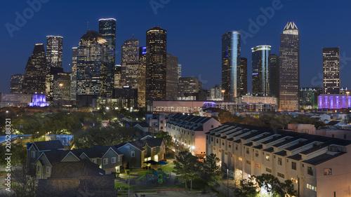 MARCH 7, 2018 , HOUSTON, TEXAS - High rise buildings in Houston cityscape illuminated at sunset, Texas, United States, Texas, United States