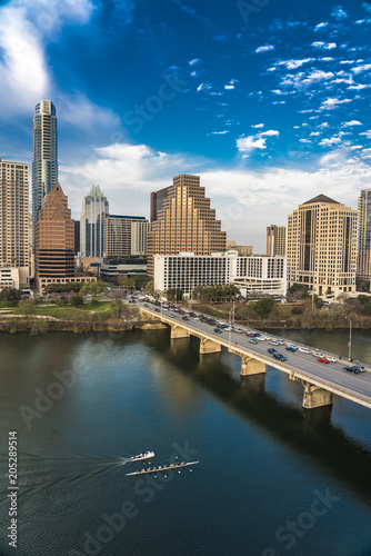 mata magnetyczna MARCH 2, 2018, AUSTIN, TEXAS - Austin Cityscape Evening Skyline with skyscrapers down Congress Avenue Bridge over Colorado River