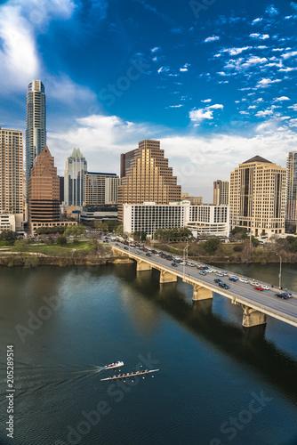 MARCH 2, 2018, AUSTIN, TEXAS - Austin Cityscape Evening Skyline with skyscrapers down Congress Avenue Bridge over Colorado River