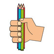 hand with set of colored pencils isolated icon vector illustration design