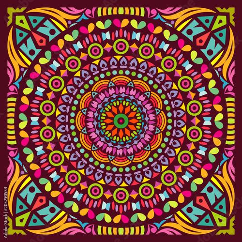 Colorful Mandala Art Beautiful Ethnic Floral Sacred Creative Circle Pop Art Frame Geometric Symmetry Ancient Ornament Background