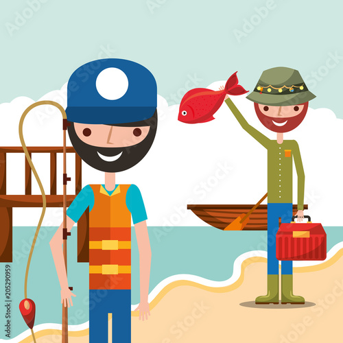 Fridge magnet fisherman fishing in wooden bridge shore boat cartoon vector illustration