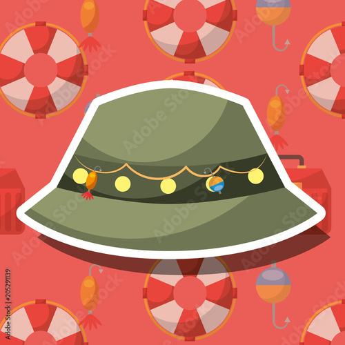 fishing equipment hat with hooks vector illustration