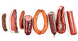 canvas print picture - Delicious selection of spicy dried sausages
