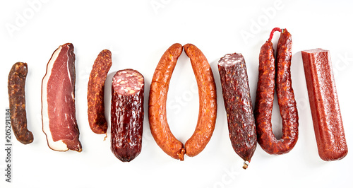 canvas print picture Delicious selection of spicy dried sausages