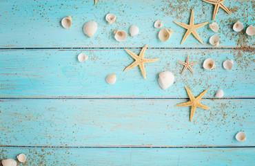 summer seashells on wooden background