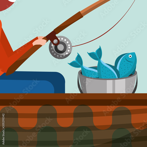 fisherman sitting fishing leisure concept vector illustration