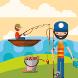 fishermen in the lake with boat worms and fish vector illustration - 205293910