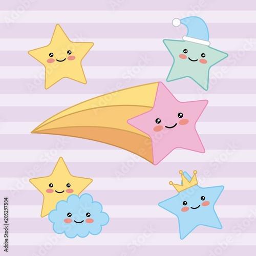 kawaii happy stars cloud fantasy cartoon vector illustration - 205297584