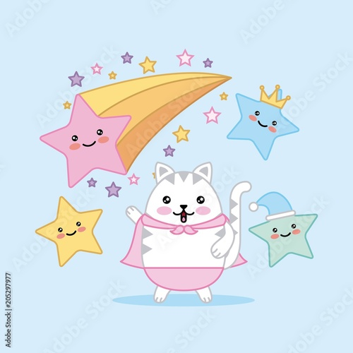 kawaii cute cat and funny stars cartoon vector illustration - 205297977