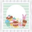 kawaii sweet food funny cartoon card vector illustration