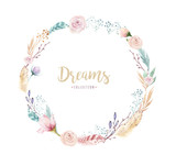Hand drawing isolated watercolor floral illustration with protea rose, leaves, branches and flowers. Bohemian gold crystal frames. Elements for greeting wedding card. - 205298160