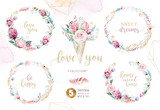 Hand drawing isolated watercolor floral illustration with protea rose, leaves, branches and flowers. Bohemian gold crystal frames, bouquets and wedding wreath card. - 205298356