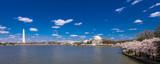 APRIL 8, 2018 - WASH DC - Jefferson Memorial & Washington Monument, Tidal Basin, Washington D.C. feature Cherry Blossoms