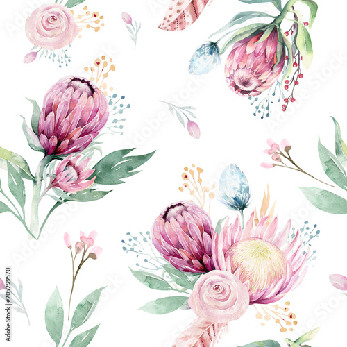 Hand drawing watercolor floral pattern with protea rose, leaves, branches and flowers. Bohemian seamless gold pink patterns prorea. Background for greeting wedding card. - 205299570