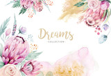 Hand drawing isolated watercolor floral illustration with protea rose, leaves, branches and flowers. Bohemian gold crystal frames. Elements for greeting wedding card. - 205300788