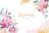 Hand drawing isolated watercolor floral illustration with protea rose, leaves, branches and flowers. Bohemian gold crystal frames. Elements for greeting wedding card. - 205300911