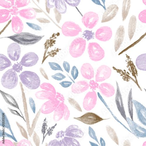 akwarela-kwiaty-i-liscie-wzor