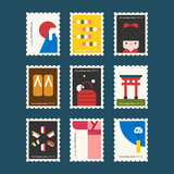 japan stamp concept vector flat design illustration set - 205315164