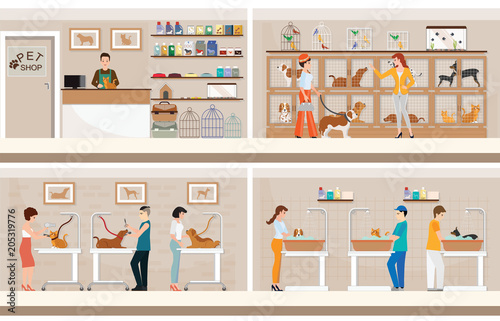 Obraz na płótnie Modern pet shop with cages of animal.