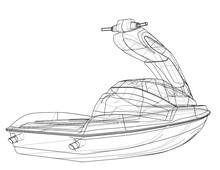 Jet Ski Sketch  Sticker