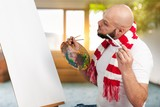 Man painter with a paintbrush - 205321744