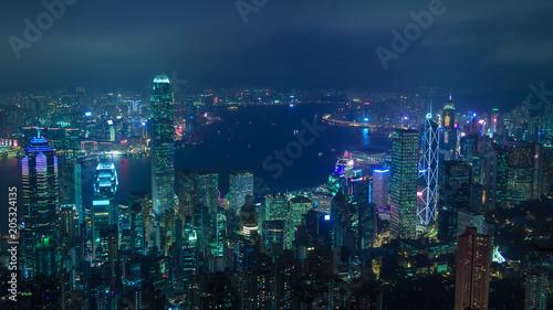 obraz PCV Cyberpunk Hong Kong view on Victoria Bay