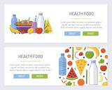 Set web banners for health food store. Flat design. Vector illustration.