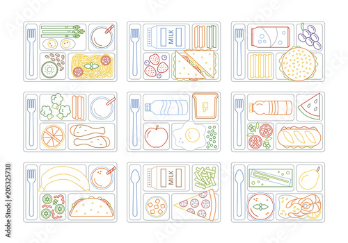 Coloring pages for kids with colorful border. Set lunches on a tray. Line style. Vector illustration.