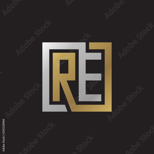 Initial letter RE, looping line, square shape logo, silver gold color on black background