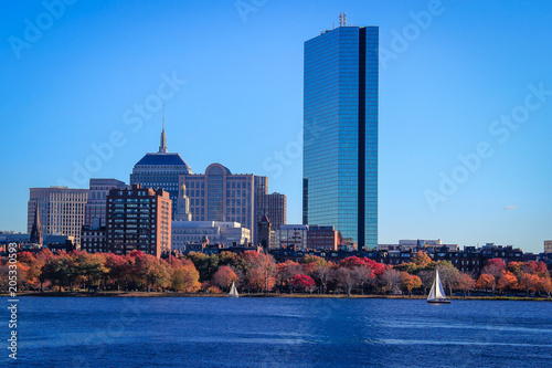 Boston skyline seen from across the Charles River, Massachusetts, USA.