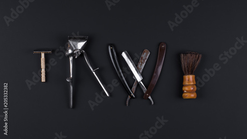 hair clipper ,Vintage razor on a black isolated background