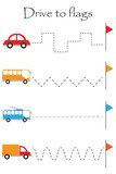 Drive transport to flags, handwriting practice sheet, kids preschool activity, educational children game, printable worksheet, writing training, vector illustration