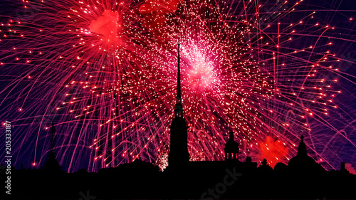 Aluminium Bordeaux Illustration of colorful fireworks on Peter and Paul Fortress, Saint-Petersburg, Russia. Holiday light with Russian cityscape silhouette.